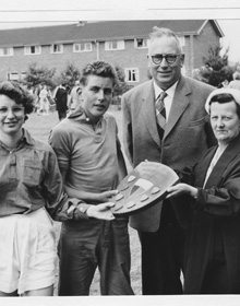 Headmaster Mr Wurr and Deputy Mrs Churchyard present the Sports Shield in 1959